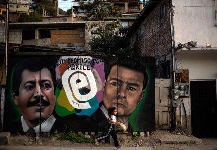 Una pared conmemorativa del aniversario del asesinato de Colosio en Tijuana. Foto: Xinhua / Guillermo Arias