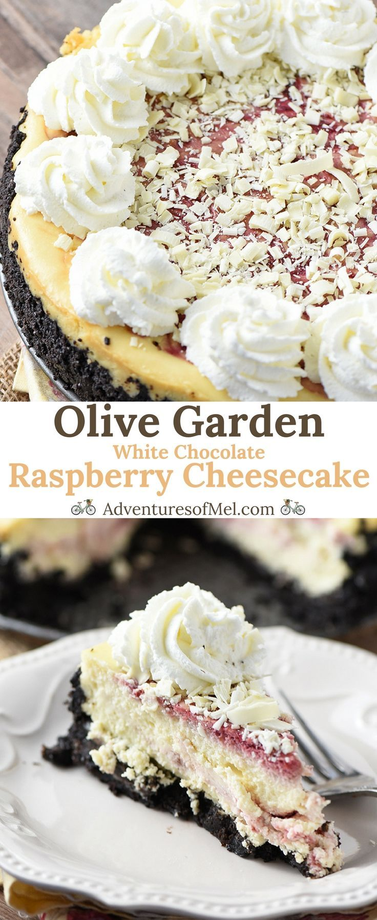 Olive Garden White Chocolate Raspberry Cheesecake is hands down my favorite restaurant dessert (we go way back). Heavenly copycat recipe made with a chocolate cookie crust and homemade raspberry swirl. #cheesecake #copycat #recipes #dessert #raspberry #chocolate #OliveGarden
