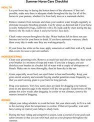 Summer Horse Care Checklist