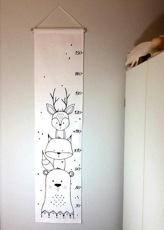 Screen animals, gauge, scale, fabric, ruler growth chart, home decor, baby