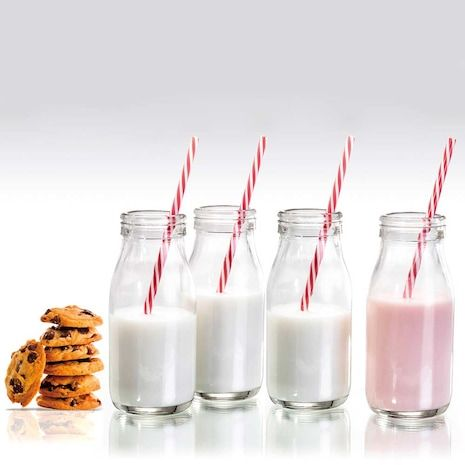 Milk Bottles Set of 4 with Straws