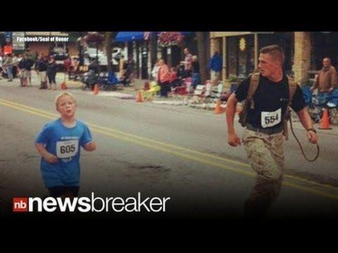HERO: Marine Purposely Loses 5K Marathon to Run With Child; Goes Viral - YouTube