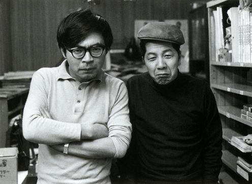 Miyazaki Hayao and his mentor Otsuka Yasuo.