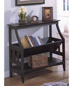 I am putting this by my front door, and storing ALL my library books right there....no late fines ever again! Antique Black Three-shelf Solid Wood Bookshelf