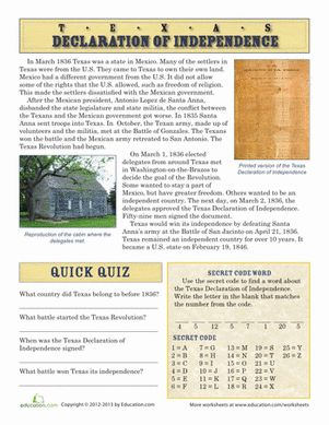 texas declaration of independence comprehension worksheets worksheets and texas. Black Bedroom Furniture Sets. Home Design Ideas