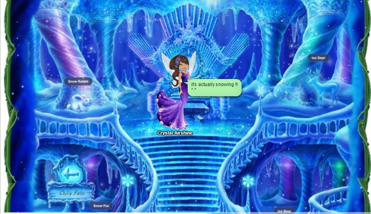"Picture from Rose''s ""PIXIE HOLLOW"" on Worlize. :) It's the Ice Palace, and it's actually snowng real time =o!"