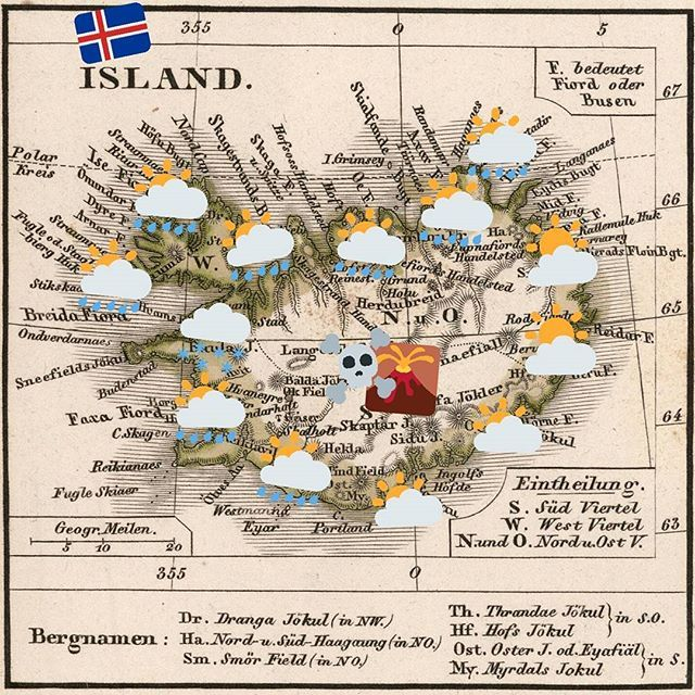 #Map of the last day of the #winter in #Iceland 🇮🇸 #infographic #chart #Исландия #карта #зима #design #cartography #opendata #retro #emoji #clouds #volcano #earthquake #danger #emergency #surveying #outdoor #science @haskoli_islands @haskolinn