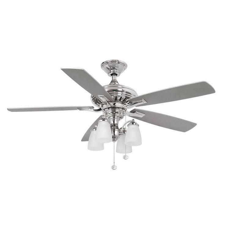 Hampton Bay Bristol Lane 52 in. Polished Nickel Ceiling Fan-14950 - The Home Depot