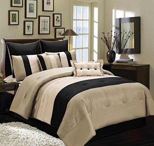 8 Pc Beige Taupe And Black Faux Silk Full Comforter