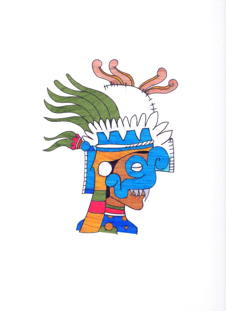 """Tlalocman by Carlos Colin 11"""" x 14"""" framed Tlalocman is a song played by a Mexican rock band that mocks The Beatles in the 60s called Los Tepetatles. The drawing represents Tlalocman, a man who during the day is a bank teller and by night he becomes Tlalocman. This mask is a representation of Tlaloc based in the Codex Ríos. Tlaloc is the God of Rain and in Nahuatl means: Nectar of the earth."""