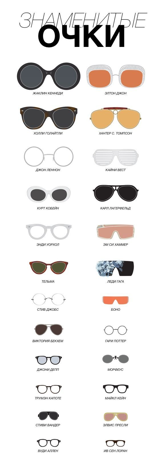 Порой очки становится частью образа так удачно, что их форма начинает ассоциироваться с человеком. Смотрим вошедшие в историю примеры в виде инфографики - http://www.yapokupayu.ru/blogs/post/infografika-znamenitye-opravy
