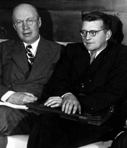 Two great Russian composers: Prokofiev and Shostakovich in 1940.