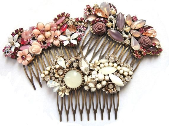 Wedding haircomb -Vintage rhinestones and flowers - shabby chic - bride bridesmaids - MADE TO ORDER