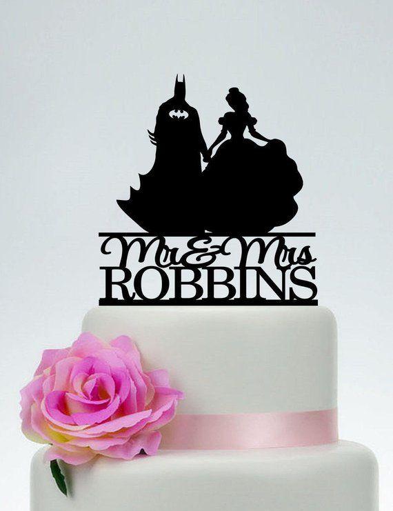 Batman And Belledisney Wedding Cake Toppermr And Mrs Cake Etsy In 2020 Wedding Cake Toppers Disney Wedding Cake Toppers Princess Cake Toppers
