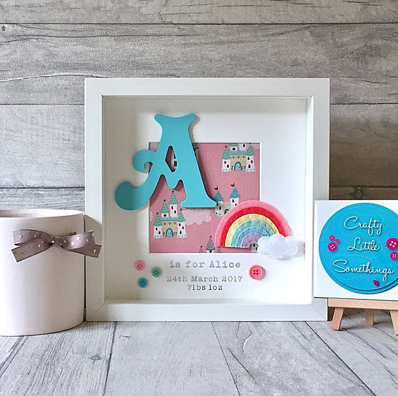 Beautiful and unique personalised box frame in a Pastel Rainbow theme, by Crafty Little Somethings. Personalised box frames that make a lovely gift, keepsake, or to complete your childs nursery/bedroom decor. Frames will be made with: - A hand painted MDF initial in Victoria font -