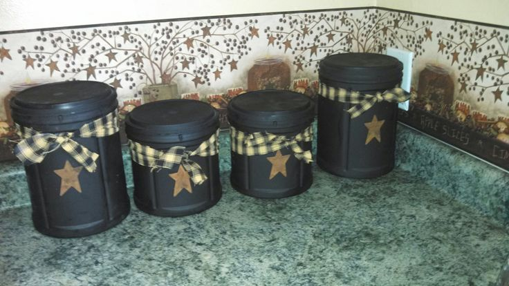 Dont throw out your coffee containers! Canister set out of  red Folgers containers
