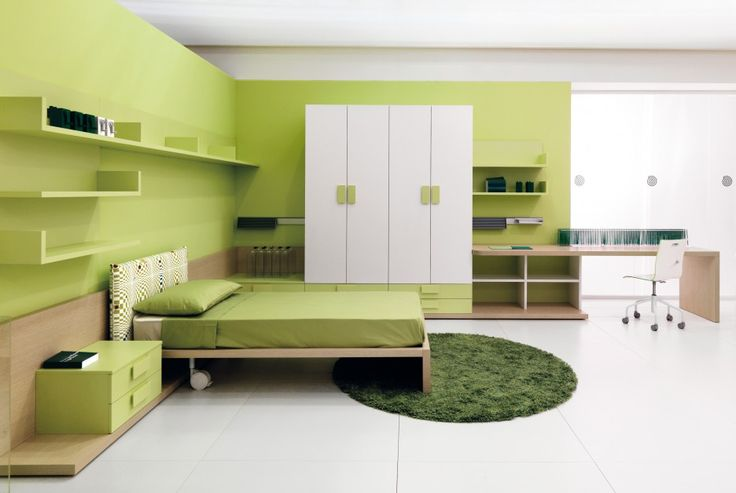 Bedroom. Awesome Inspirational Bedroom Design With Green Wooden Wall Painting…