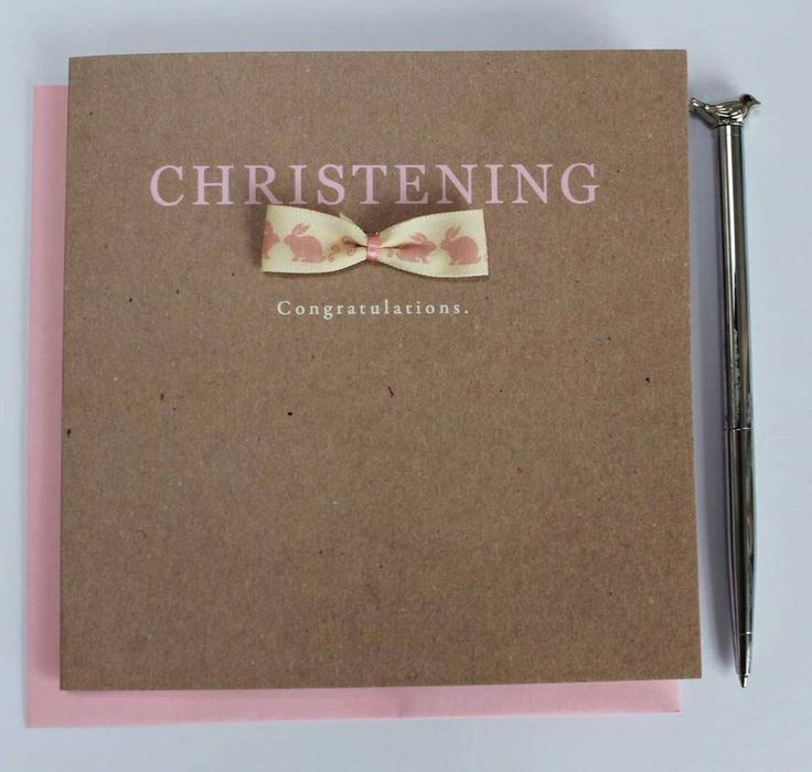 Handmade Girls Christening Card
