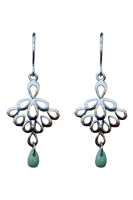 FAN DROPLET EARRINGS-A$45.00 Matte silver/gold plated fan droplets with a turquoise czech bead dangle attached to matte silver/gold plated hooks also available Designer Earrings and diamond rings. Dimensions: Approx 17mm x 30mm