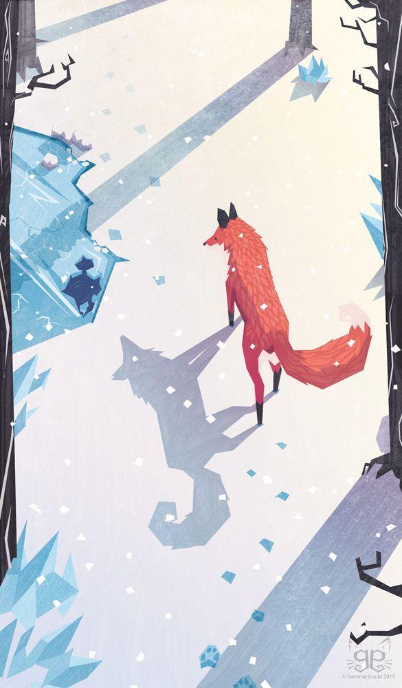 Illustration of a fox in snow forest | Winter landscape illustration