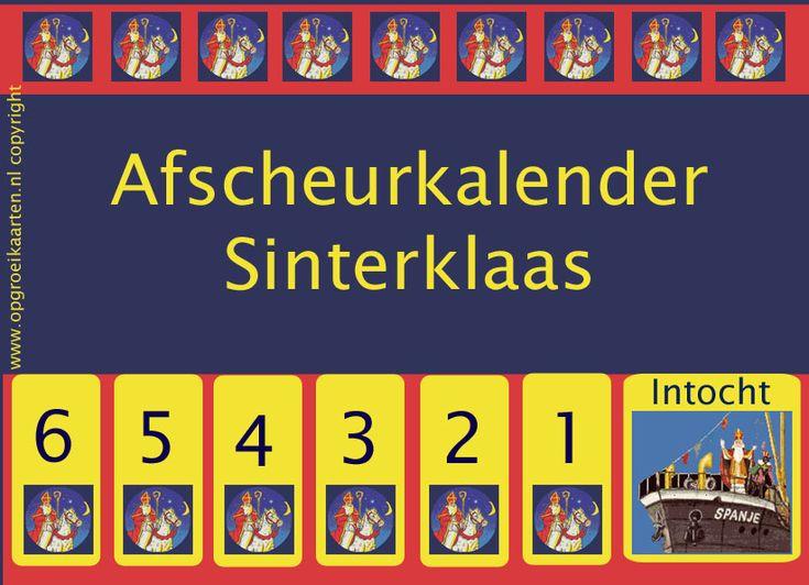 Aftelkalender intocht Sinterklaas van opgroeikaarten.nl