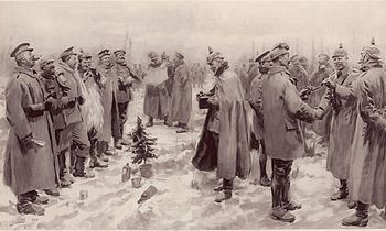 Soldiers from both sides exchange cheerful conversation. WW 1 Christmas truce. 1914