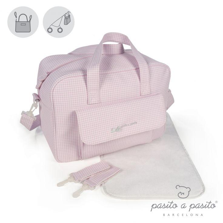Roze met wit geruite luiertas van het Spaanse merk Pasito a Pasito.