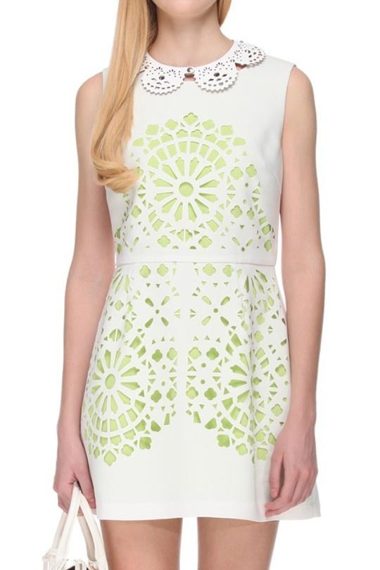 White Sleeveless Hollow Back Zipper Sundress - Sheinside.com
