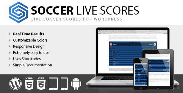 Soccer Live Scores . Soccer Live Scores is a new WordPress plugin that allows you to include live soccer scores in your posts, pages and custom