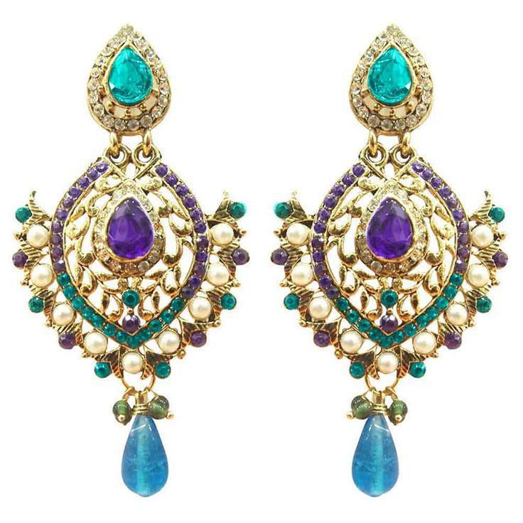 """Kriaa Austrian Stone Blue And Purple Pearl Gold Finish Dangle Earrings"""