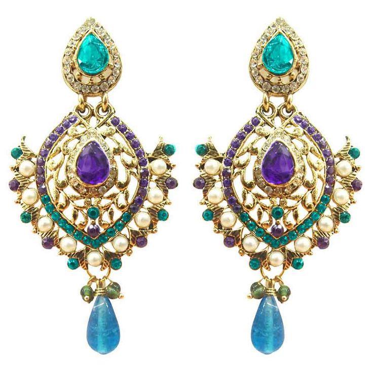 """Kriaa Austrian Stone Blue And Purple Pearl Gold Finish Dangle Earrings"""