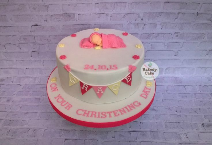 Sleeping Baby and Bunting - Girl's Christening Cake by Bakedy Cake