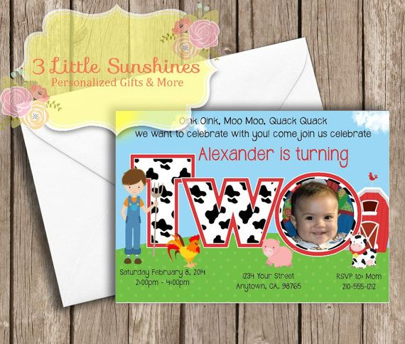 Farm Personalized 2nd Birthday Invitations U-Print