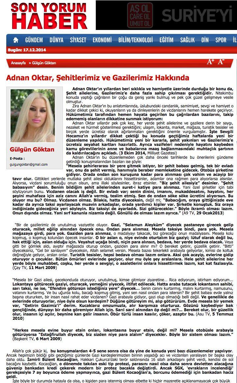 #GülgünGöktan - #AdnanOktar, #Şehitlerimiz ve #Gazilerimiz Hakkında - #SonYorumHaber http://www.sonyorumhaber.com/makale/gulgun-goktan/adnan-oktar-sehitlerimiz-ve-gazilerimiz-hakkinda-/510.html