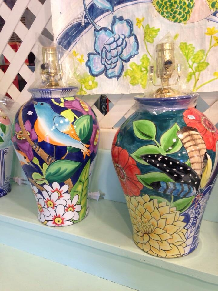 Damariscotta Pottery large lamps, painted by Juliana and Mary