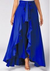 Beautiful  blue  Side Zipper Tie Front Overlay Pants | Rosewe.com - USD $31.40