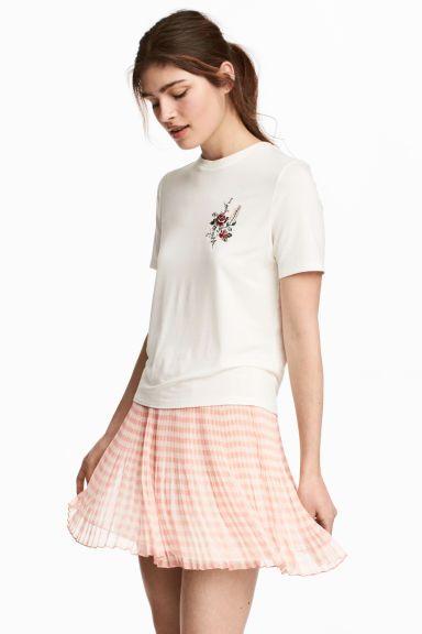 Falda plisada de gasa - Rosa empolvado/Cuadros - MUJER | H&M ES 1