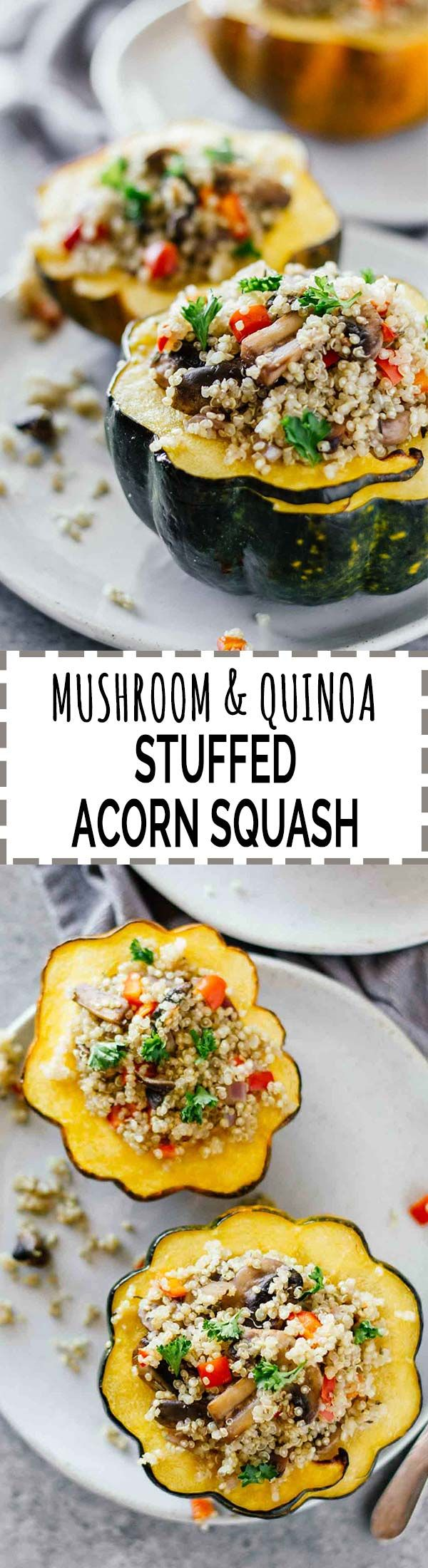 Mushroom & Quinoa Stuffed Acorn Squash! Vegan, vegetarian, gluten-free, and super easy to make!