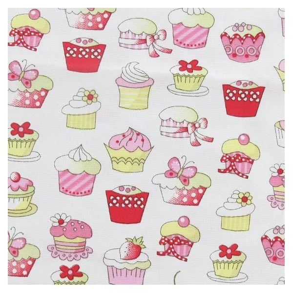 Tissu popeline cupcake rose et jaune x 10cm