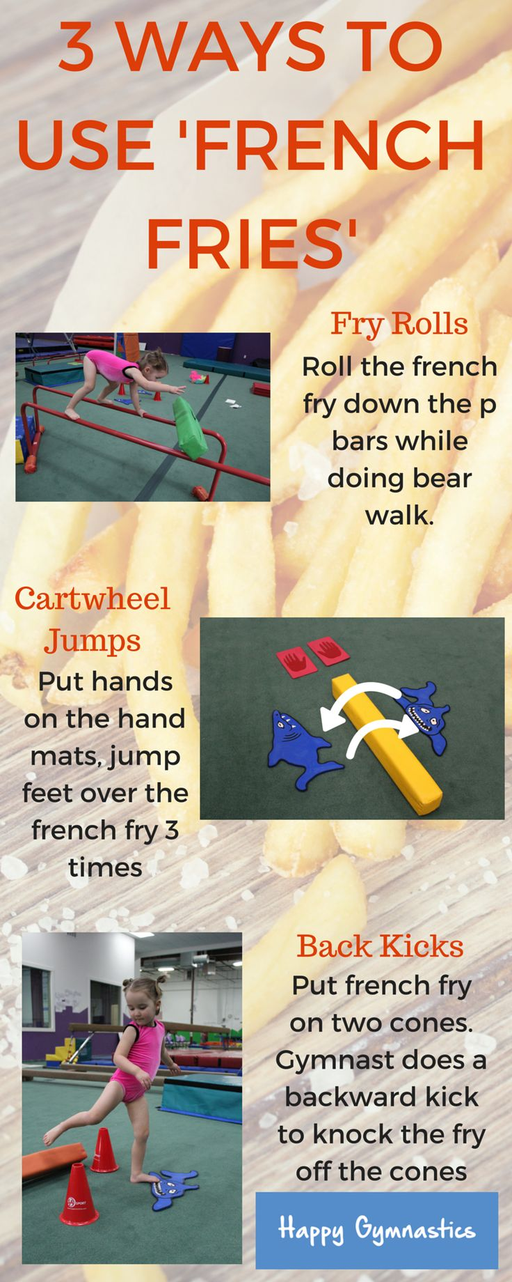 New ideas for those french fries/speed bumps you've got laying around the gym!  Get more fresh preschool ideas at www.happygymnastics.com
