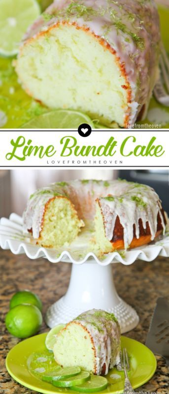 Easy Lime Bundt Cake Recipe. Sweet and tart, such a perfect dessert for spring and summer!: