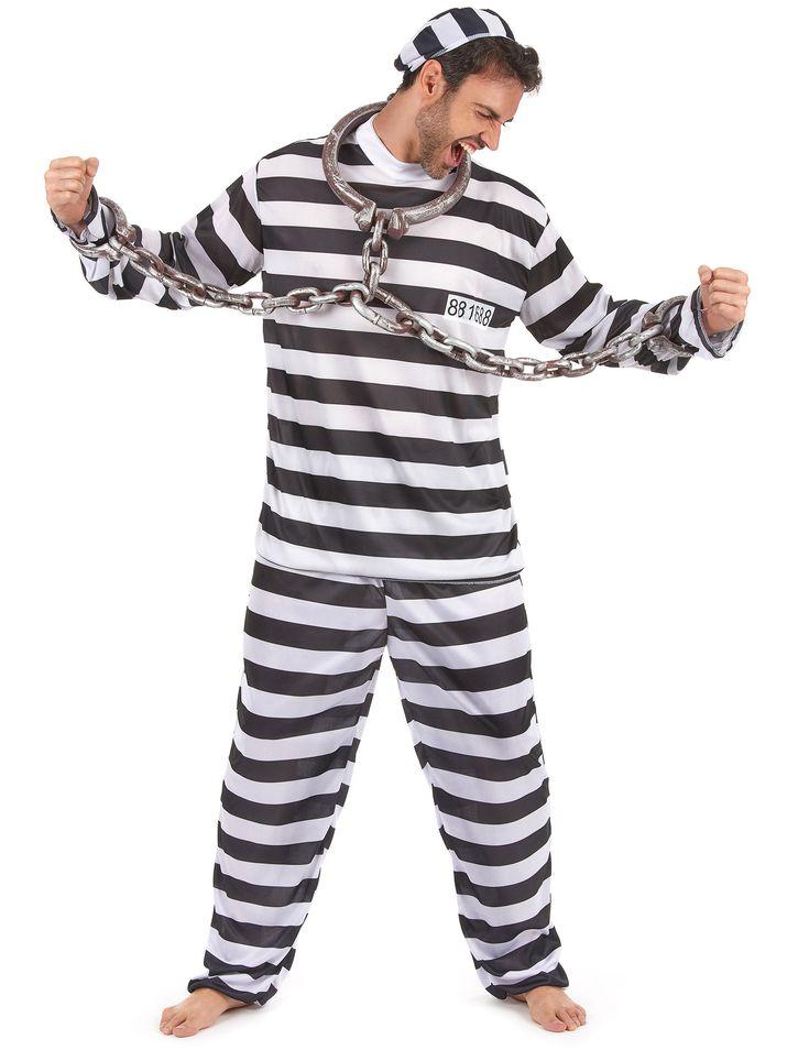 Gevangenis outfit voor mannen: Gevangenispak voor mannen, met hoofddeksel, T-shirt met lange mouwen en registratienummer op de borst, volledig wit-zwart gestreepte broek om nog echter te lijken (handboeien en bol niet inbegrepen)....
