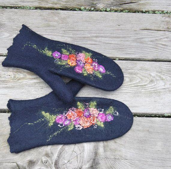 Gefilzte Handschuhe blau Merino Wolle