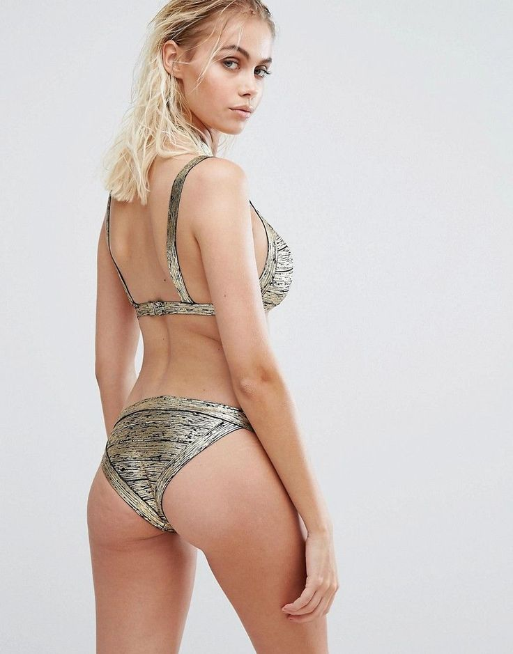 PrettyLittleThing Metallic Bandage Cut Out Bikini Top - Gold