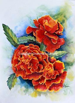 """Marigold Fire"", original watercolor"