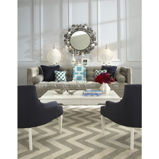 Living Room with deep blue and aqua: Mirror, Fireplaces Rooms, Living Rooms Design, Area Rugs, House, Sit Rooms, Jonathan Adler, Comfy Glamour, Chevron Rugs