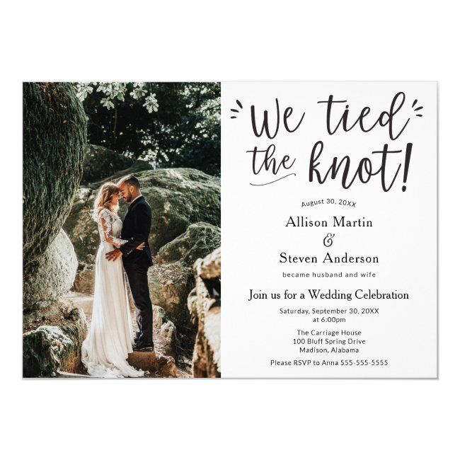 We Tied The Knot With Photo Wedding Reception Invitation Zazzle Com In 2020 Wedding Reception Invitations Reception Invitations Tie The Knot Wedding