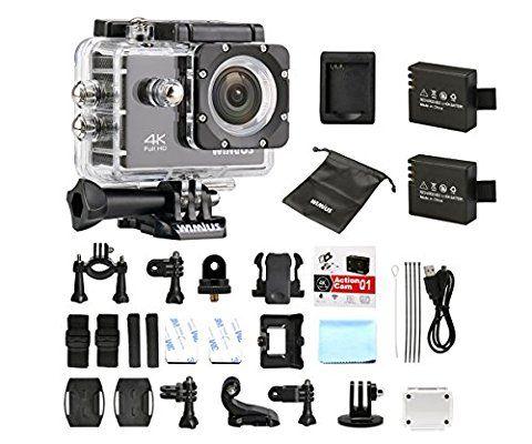 WiMiUS Q1 Caméra Sport 4k Full HD 16MP Wifi Etanche 40M Action Caméra Embarquée Grand Angle 170°Kit d'accessoires + 2 Batteries (Noir)