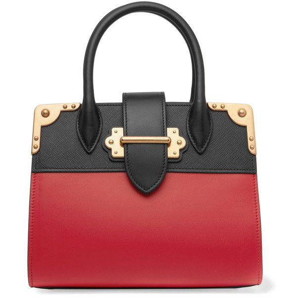 Prada Cahier small two-tone leather tote ($3,435) ❤ liked on Polyvore featuring bags, handbags, tote bags, purses, red, leather handbag tote, red tote bag, leather purses, leather handbags and leather hand bags