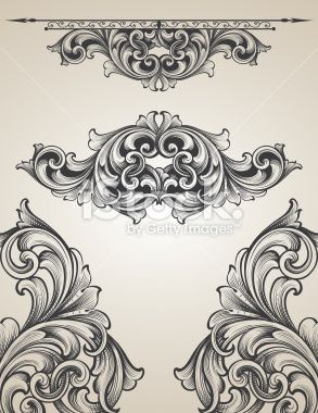 Intertwining Engraving Scroll Set Royalty Free Stock Vector Art Illustration